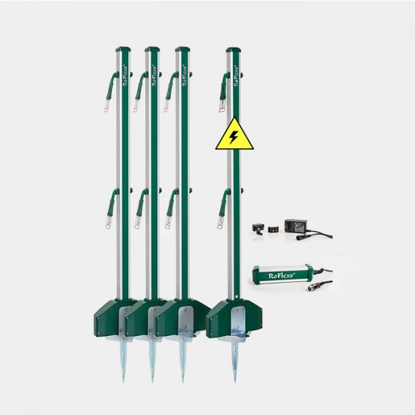 ROFLEXS - Piquets de parc avec enrouleur de ruban intégré RoFlexs premium (pack de 4)
